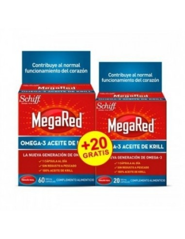 MEGARED 500 OMEGA 3 ACEITE DE KRILL  ENVASE DUPLO 60 + 20 CAPS